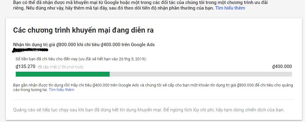 Voucher 800k của Google Adword khi CHI TIÊU 400k đầu tiên