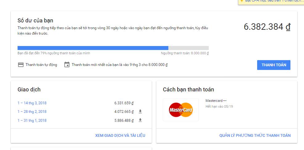 Cách nạp tiền vào tài khoản Google Adwords CHUẨN NHẤT 3