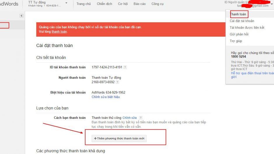 Hướng dẫn cách thêm người dùng thanh toán trong Adwords Nhanh
