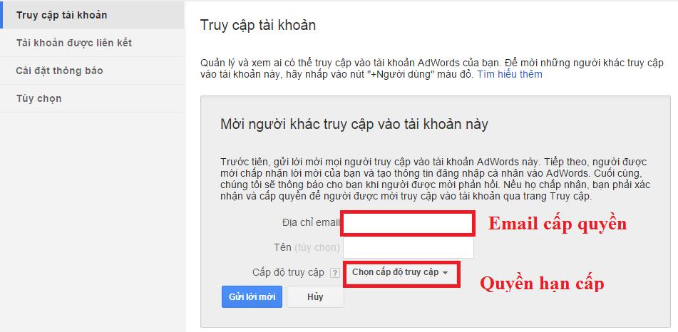 Cách phân quyền truy cập trong làm quảng cáo Google Adwords