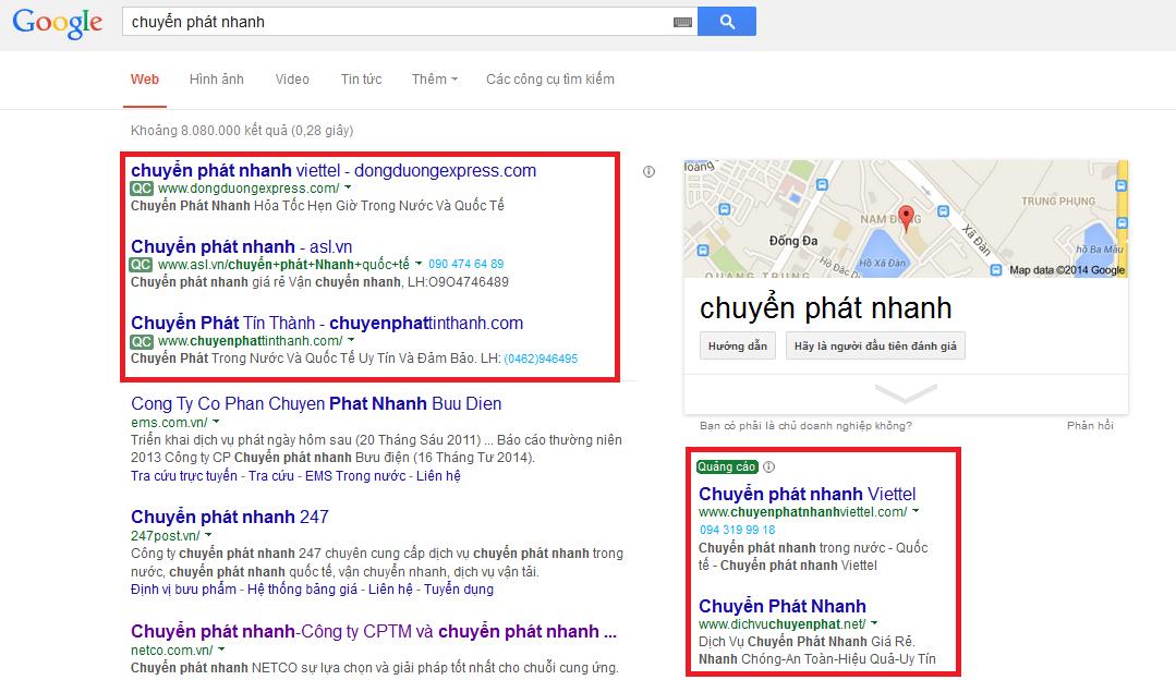 Vị trí hiển thị quảng cáo Google Adwords hiệu quả của một chiến dịch 3