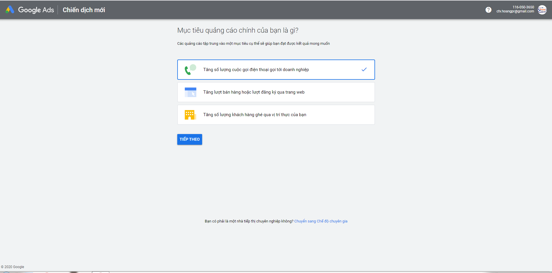 Tạo tài khoản đăng ký quảng cáo google