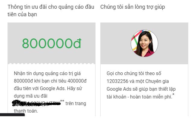 Nhận Voucher 800k của Google Adword khi CHI TIÊU 400k đầu tiên
